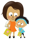 Mother and daughter shopping (African-American) Royalty Free Stock Photo