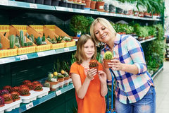 Mother and daughter shopping cactus Stock Photography