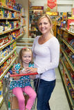 Mother And Daughter Shopping In Supermarket Royalty Free Stock Photos