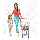 Mother and daughter shopping together. Stock Photo
