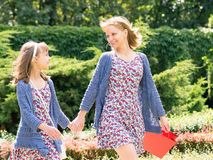 Mother and daughter shopping trip Royalty Free Stock Photo