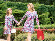 Mother and daughter shopping trip Royalty Free Stock Photography