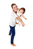Mother and daughter show his hand in the studio Stock Photography