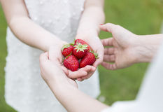 Mother and daughter showing a bunch of strawberries Stock Images