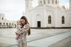 Sight in Tatarstan - white mosque stock image