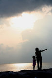 Mother and Daughter Silhouettes Royalty Free Stock Image