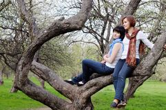 Mother and daughter sitting on a tree Royalty Free Stock Image