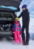 Mother and daughter with ski equipment Royalty Free Stock Photography