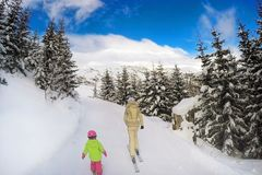 Mother and daughter skiing in forest. Back view. Bright sunny winter day. End of winter vacation concept. Closure of winter sport royalty free stock images