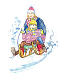 Mother and daughter sledding Royalty Free Stock Images