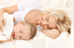 Mother and daughter sleeping Royalty Free Stock Image