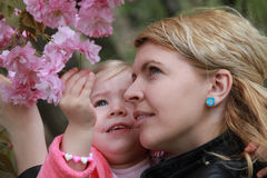 Mother and daughter smells pink flowers Royalty Free Stock Photos