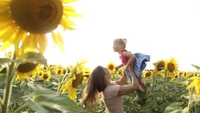 Mother and daughter smiling happily and laughing in the sunflower field. stock footage