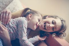 Mother and daughter. Smiling and happy. stock images