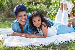 Mother and daughter. Smiling portrait stock photo