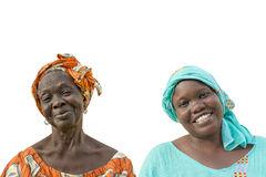 Mother and daughter smiling, seventy and forty years old, isolated, Stock Photo