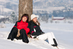 Mother and daughter in snow Stock Photography