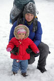 Mother and daughter in snow Royalty Free Stock Photography