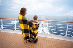 Mother, daughter son on board ship Stock Photos