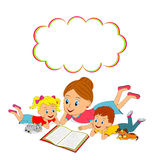 Mother, daughter and son are reading book Stock Photo