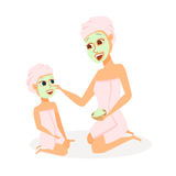 Mother and daughter in spa. Mom and child make face mask in bathroom. Family beauty treatment leisure. Women and girl dressed in towels in cosmetic salon of royalty free illustration