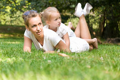 Mother and daughter spend a weekend in nature Royalty Free Stock Images