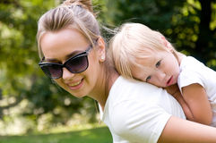 Mother and daughter spend a weekend in nature Royalty Free Stock Photography