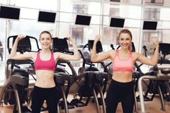 Mother and daughter doing exercises at the gym. They look happy, fashionable and fit. royalty free stock images