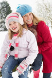 Mother And Daughter Standing Outside In Snow Royalty Free Stock Photo