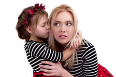 Mother And Daughter in studio isolated on white background - Stock Image Stock Image