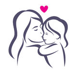 Mother and daughter stylized vector silhouette Royalty Free Stock Photo