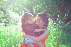 Mother and daughter in summer day Stock Photography