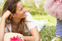 Mother And Daughter In Summer Field Together Royalty Free Stock Photos