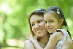 Mother with daughter in summer Stock Photography