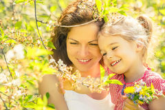 Mother and daughter in sunny park Royalty Free Stock Photography