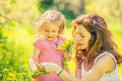 Mother and daughter in sunny park Stock Image