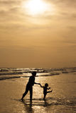 Mother and daughter on sunset Stock Image