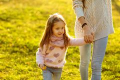 Mother daughter at sunset playing, Mothers Day. royalty free stock photography