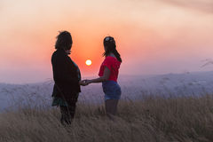Mother Daughter Sunset Relationship Stock Image