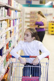 Mother and daughter in supermarket Royalty Free Stock Photography