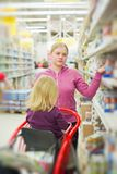 Mother and daughter in supermarket Royalty Free Stock Photos