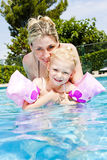 Mother and daughter in swimming pool Royalty Free Stock Image