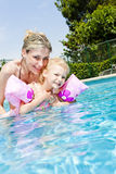 Mother and daughter in swimming pool Stock Images