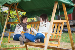 Mother with daughter on a swing Stock Photography