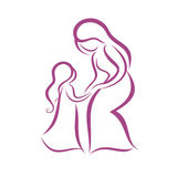 Mother and daughter symbol Royalty Free Stock Photos