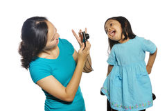 Mother And Daughter Taking Own Photograph Royalty Free Stock Images