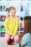 Mother daughter talk portrait. Education royalty free stock photography