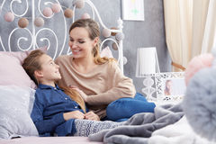 Mother and daughter talking Royalty Free Stock Photo