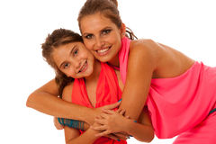Mother and daughter talking isolated over white background Royalty Free Stock Photo