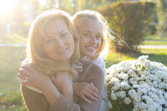 Mother and daughter teenager Stock Photo